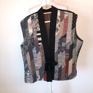 Quilted Men's Flannel lined tie closure vest